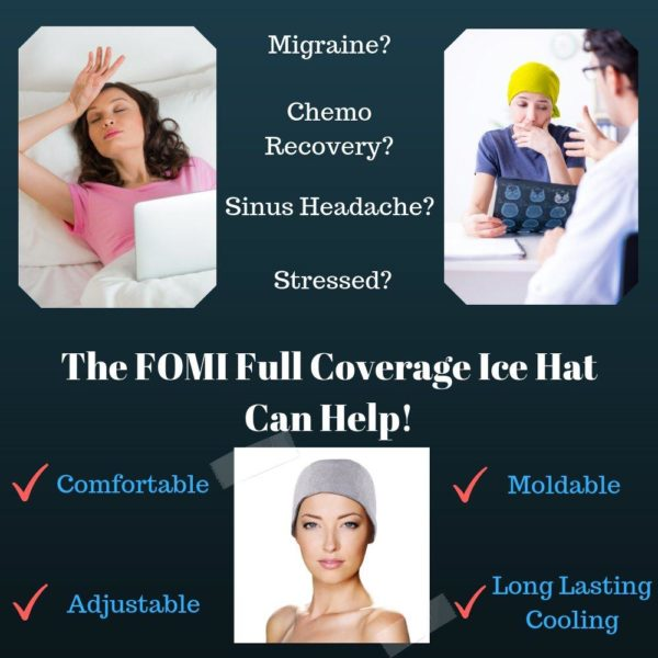 FOMI Migraine Full Coverage Gel Ice Hat | Headache Relief and Chemo Recovery Aid - FoMI Care