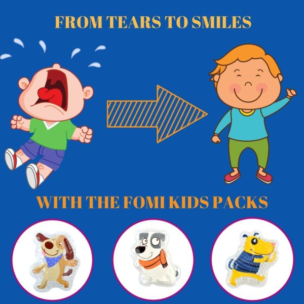 FOMI Kids Hot Cold Boo Boos Ice Packs | 3-Pack, Orange Scented - FoMI Care